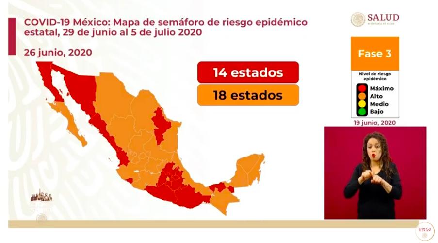 Semáforo de riesgo epidemiológico, con 18 estados en naranja