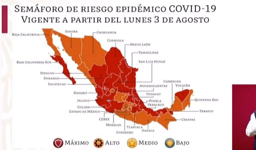 Semáforo de riesgo epidémico, con 16 estados en naranja