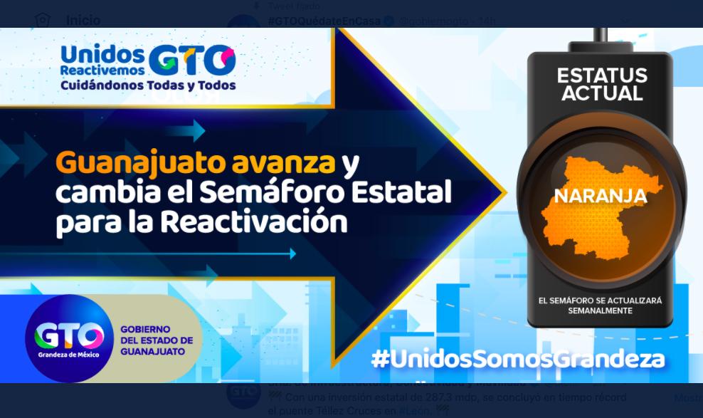 Semáforo estatal de Guanajuato pasa a naranja