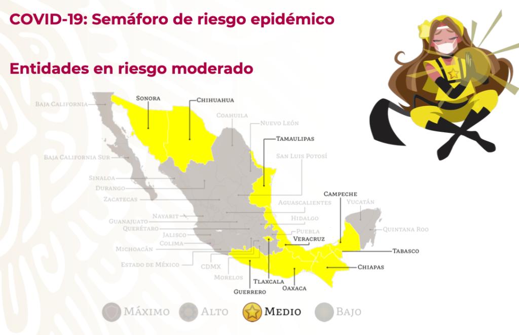 Semáforo de riesgo epidémico: 10 estados en amarillo y Colima en rojo