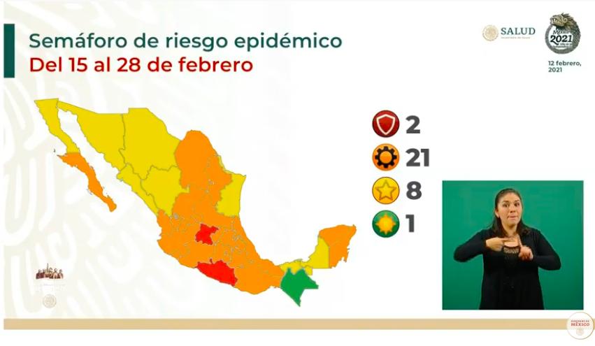 Semáforo: 11 estados dejan el rojo y Chiapas pasa al verde