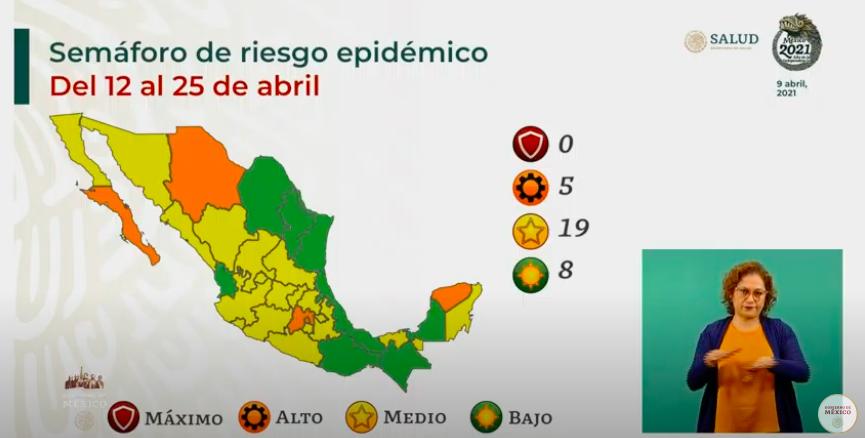 Semáforo epidémico: ocho estados en color verde