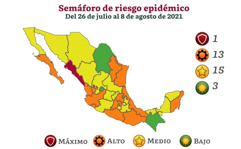 Semáforo de riesgo epidémico: solo tres estados mantienen el verde