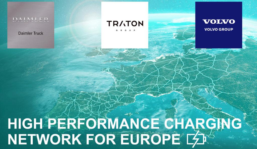 Tres gigantes de la industria van por red de carga para camiones en Europa