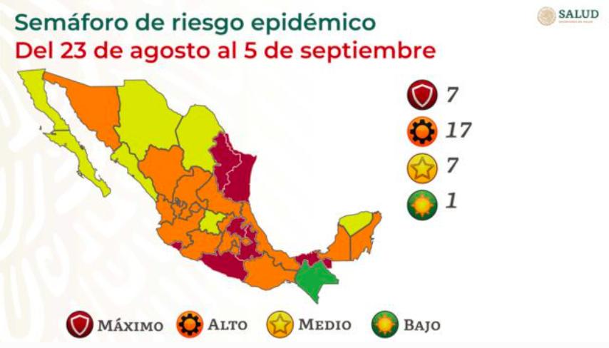 Semáforo COVID-19: Puebla, Hidalgo, Tabasco y Tamaulipas pasan rojo
