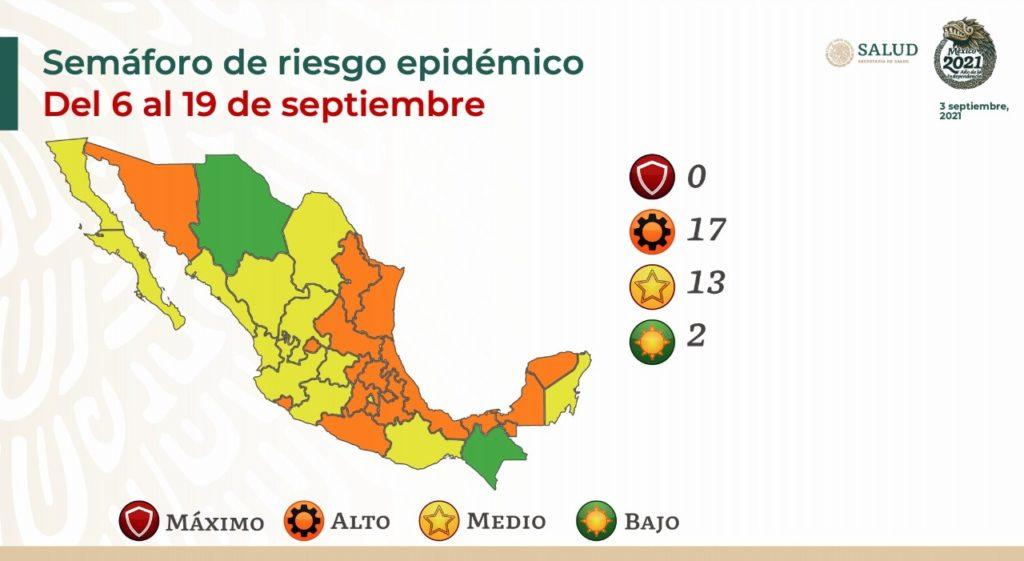 Semáforo COVID-19: Cero estados en rojo y Chihuahua, en verde