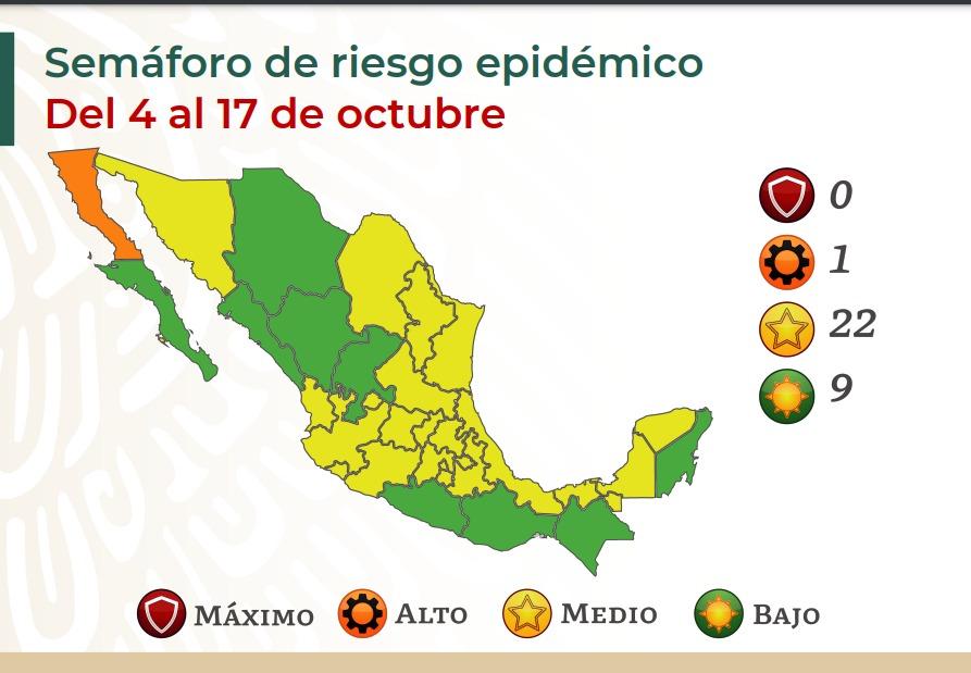 Semáforo COVID-19: Baja California retrocede a naranja y avanzan estados turísticos